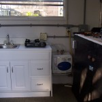 Po Mans Toy Hauler kitchen area with work bench